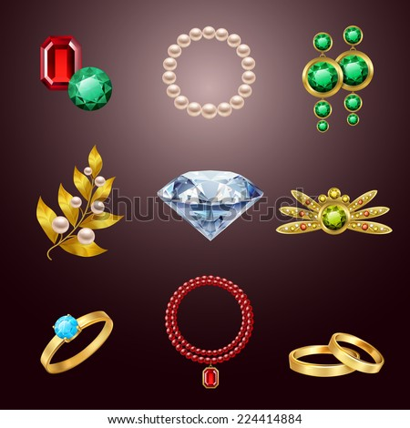 Jewelry realistic icons set of diamond gold fashion expensive accessories isolated vector illustration - stock vector