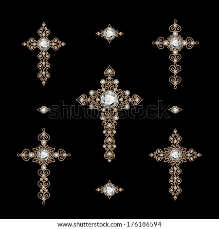 Jewelry set of antique gold Christian Crosses decorated with diamonds, isolated on black, vector eps10 - stock vector
