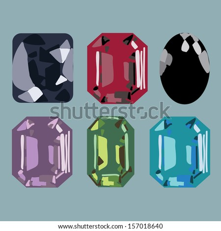 jewelry stone set with sapphire rubin onyx emerald topaz amethyst - stock vector