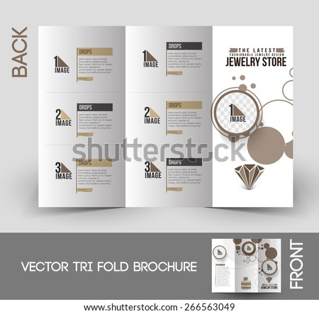Jewelry Store Trifold Mock Brochure Design Stock Vector