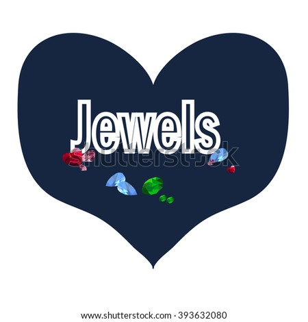 Jewels in the blue heart - stock vector