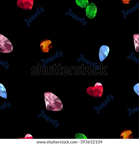Jewels on the black background with inscription - stock vector