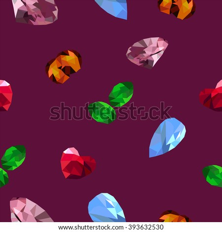 Jewels on the purple background  - stock vector