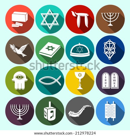 Jewish church traditional religious symbols flat icons set with torah david star dreidel isolated vector illustration - stock vector