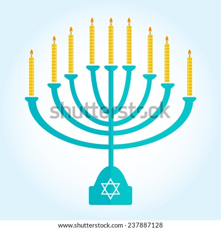 jewish holiday Hanukkah background with menorah Burning candles isolated on white - stock vector