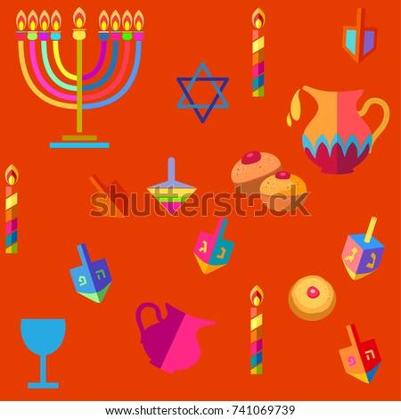 Jewish holiday hanukkah greeting card background stock vector hd jewish holiday hanukkah greeting card background with traditional chanukah symbols wooden dreidels spinning top m4hsunfo