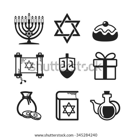 Jewish Holiday Hanukkah icons set, black and white linear elements - stock vector