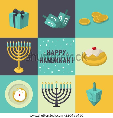 Jewish Holiday Hanukkah icons set. Vector illustration - stock vector