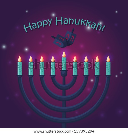 Jewish holiday hanukkah poster design. Vector illustration - stock vector