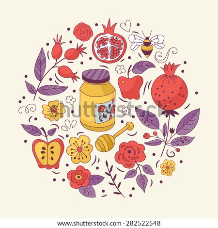 Jewish holiday Rosh Hashana (New Year) greeting card design with hand drawing doodles - stock vector