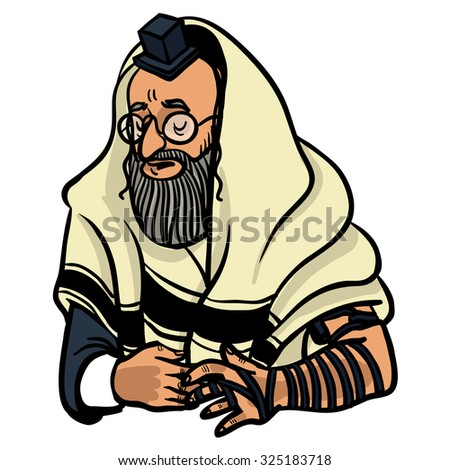 jewish man praying and put on tfilin. vector illustration - stock vector