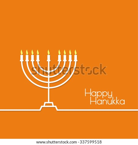 Jewish Menorah with candles. Vector illustration. Abstract background happy