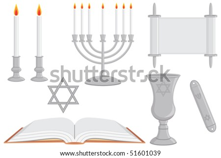 Jewish Religious Objects Vector