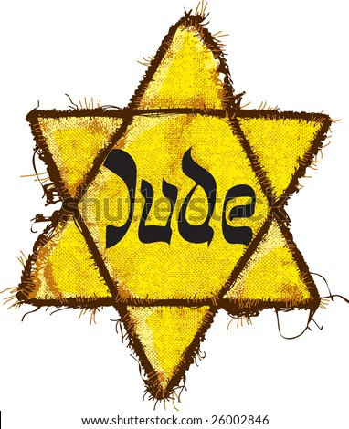 Jewish Yellow Star. This David's Star was used in Ghetto and Concentration Camps. - stock vector