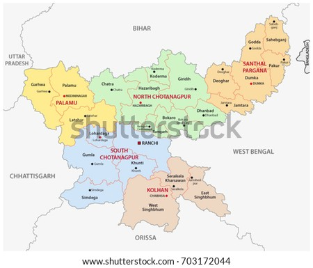 Jharkhand administrative and political map, India