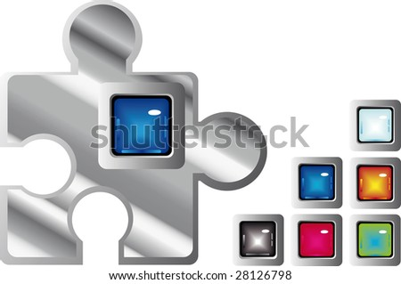 jigsaw glossy square web buttons in different colors