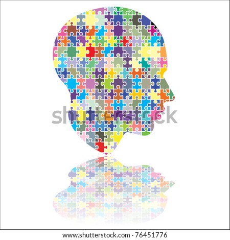 jigsaw head - stock vector