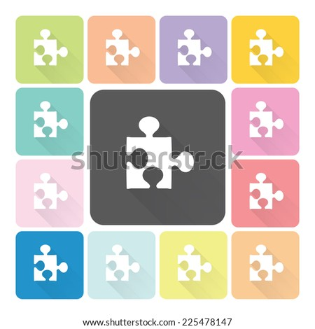 Jigsaw Icon color set vector illustration.