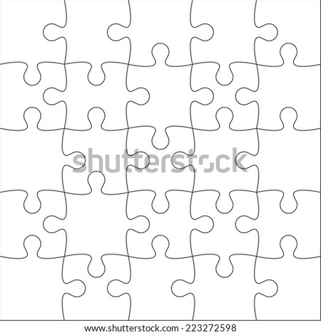 Jigsaw puzzle blank template or cutting guidelines of 20 pieces. - stock vector