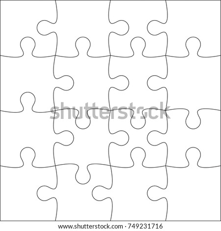 Jigsaw puzzle blank template cutting guidelines stock for Puzzle cut out template