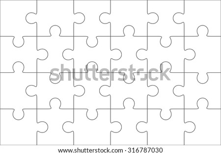 Jigsaw Puzzle Blank Template 6x4 Elements Twenty Four Pieces Vector Illustration