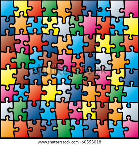 Jigsaw Puzzle Colorful Pattern. Vector Illustration