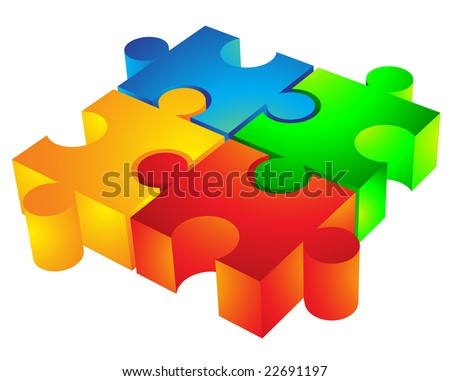 Jigsaw puzzle: 3d icon isolated on white - stock vector