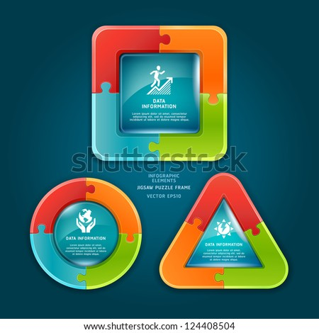 Jigsaw puzzle frame. Vector illustration. can be used for workflow layout, diagram, number options , web design, infographics. - stock vector