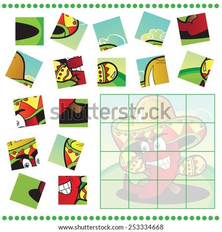 Jigsaw Puzzle game for Children with pepper - stock vector