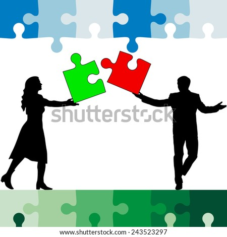 Jigsaw puzzle hold silhouettes of men and women color. Vector illustration.