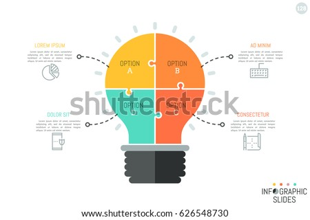Jigsaw Puzzle In Shape Of Light Bulb Divided Into 4 Pieces Minimal Infographic Design Template