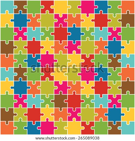 Jigsaw Puzzle Pieces Background Vector - stock vector