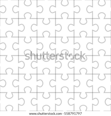 Jigsaw puzzle seamless pattern. Black contours on white. Simple Puzzle vector background.