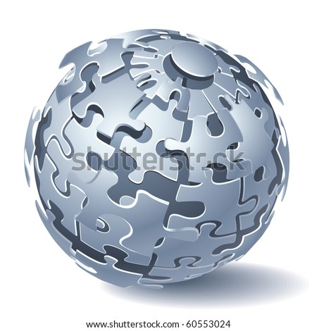 Jigsaw Puzzle Sphere. Dynamic Explosion. Vector illustration - stock vector