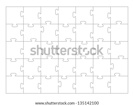 Jigsaw Puzzle template 35 pieces vector. - stock vector