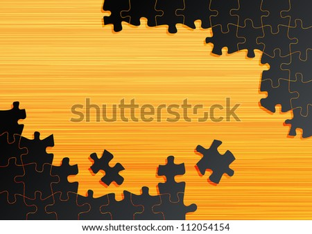 Jigsaw puzzle vector background on wooden table - stock vector