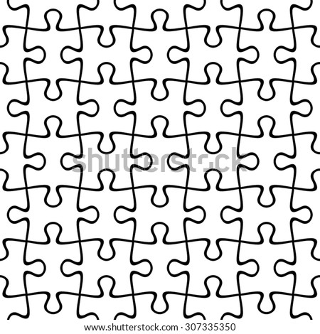 Jigsaw puzzle. Vector black and white seamless pattern. - stock vector