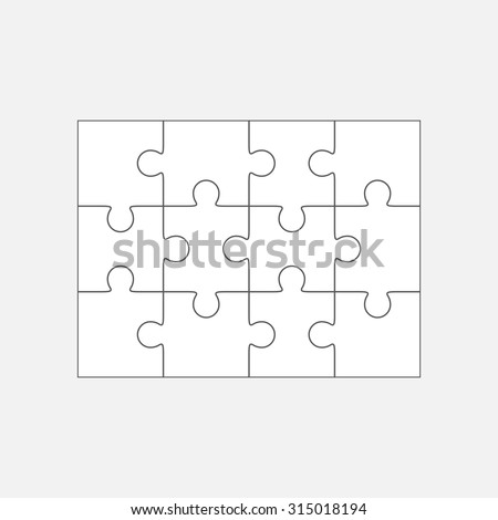 Jigsaw puzzle vector, blank simple template 4x3, twelve pieces - stock vector