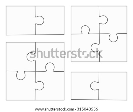Jigsaw Puzzle Vector Blank Simple Templates Four Pieces Two Elements