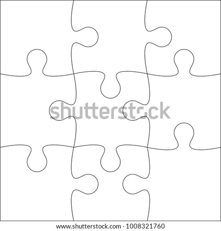 Jigsaw Puzzle Vector Blank Template Or Cutting Guidelines Of 9 Pieces On White Background