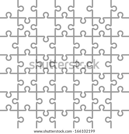 Jigsaw Puzzle White Blank Parts Template Stock Vector