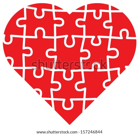 Jigsaw puzzle with all its pieces put together forming a big red heart of love - stock vector
