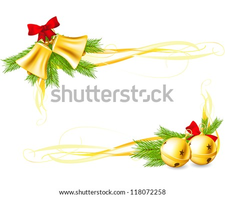 Jingle Bells and Christmas decorative corners made with gradient mesh - stock vector