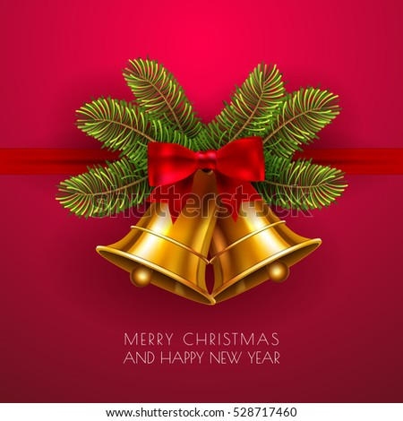 jingle bells winter gold vector bell with red bow and fir tree branches merry