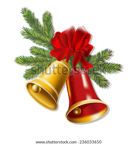 Jingle bells with red bow on a white background. Vector illustration - stock vector