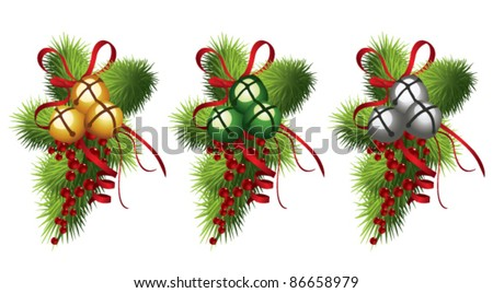 Jingle  bells with red ribbon, holly and pine branches - stock vector