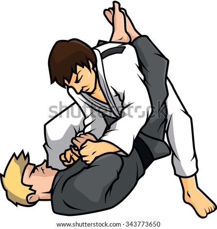 jiu jitsu training vector illustration design