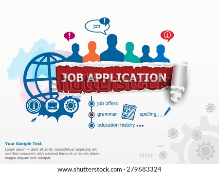 Job application concept and group of people. Flat design illustration concepts for business, consulting, finance, management, career, human resources.   - stock vector