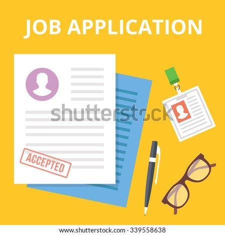 Job application flat illustration concept. Top view. Modern flat design concepts for web banners, web sites, printed materials, infographics. Yellow background. Creative vector illustration - stock vector