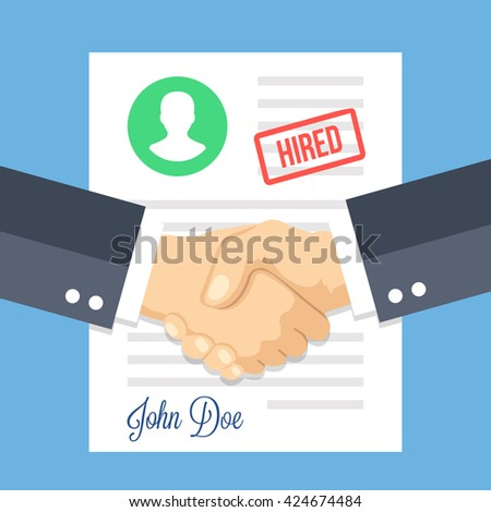 Job application with hired stamp and handshake. Employment issues, recruiting, partnership, human resources, contract, agreement, job application approved concepts. Flat design vector illustration - stock vector